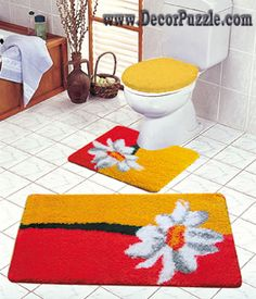 modern bathroom rug sets bath mats 2015 red and yellow bathroom rugs and carpets - Red Bathroom 2015