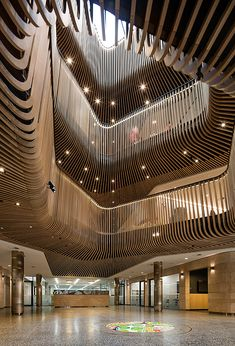 Sir Zelman Cowen Centre For Science - Scotch College - Sculptform Timber Battens, Timber Cladding, Atrium Design, Facade Design, Cafe Interior, Shop Interior Design, Shopping Mall Interior, Retail Facade, Mall Design