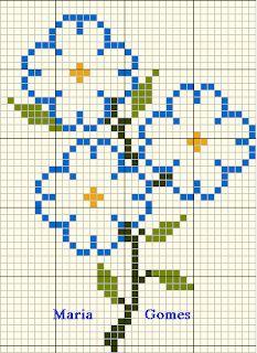 Maria Gomes : Os Meus Gráficos de Ponto Cruz Mini Cross Stitch, Cross Stitch Flowers, Cross Stitch Embroidery, Beading Patterns, Crochet Patterns, Easy Perler Bead Patterns, Cross Stitch Designs, Perler Beads, Needlework