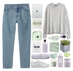 """""""it's a little blurry how the whole thing started"""" by pheachy ❤ liked on Polyvore featuring Monki, H&M, adidas, Davines, NARS Cosmetics, John Allan's, John Lewis, Pier 1 Imports, Sachajuan and Laura Mercier"""