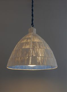 Capped dome rope pendant--you pick your colors & finishes by Bone Simple. Lighting We Love at Design Connection, Inc.   Kansas City Interior Design http://www.DesignConnectionInc.com/blog