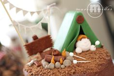 Adorable cake for a camping theme party!