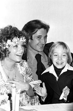 Romy Schneider with Daniel Biasini and David during their wedding on December 18 1975 in France
