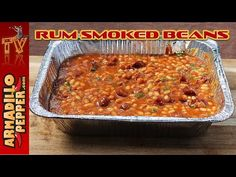 Mom's Rum Baked Beans with Venison in Masterbuilt Smoker - YouTube