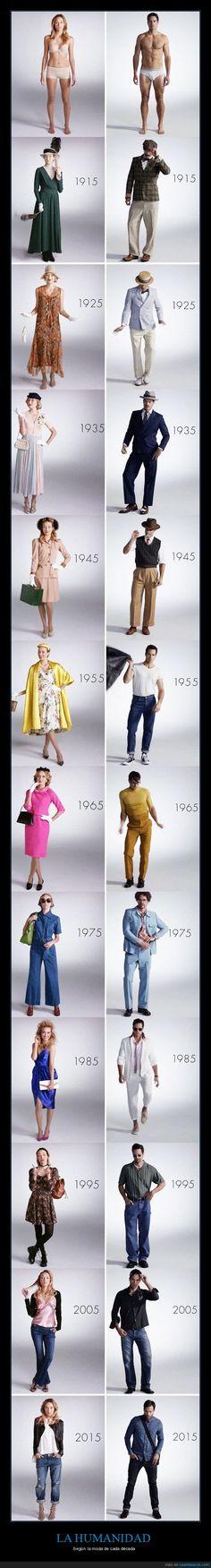 La evolución de la moda - Según la moda de cada década   Gracias a http://www.cuantarazon.com/   Si quieres leer la noticia completa visita: http://www.skylight-imagen.com/la-evolucion-de-la-moda-segun-la-moda-de-cada-decada/