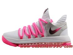 new style 5c410 d42b7 Nike Zoom KD 10 EP Chaussures de BasketBall Pas Cher Pour Homme Blanc Rose