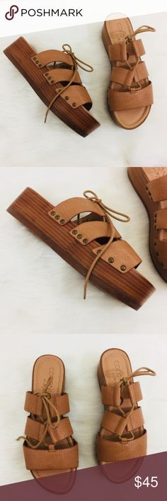 Coconut By Matisse 'Maxwell' Platform Sandal In good used condition.  Faux leather.  Platform about 2 inches. Color: Tan Matisse Shoes Platforms
