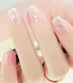 Trendy manicure for summer sequins on bare nails – Today Pin - Nailart French Nails, Acrylic Nail Designs, Nail Art Designs, Nails Design, Design Design, Acrylic Nails, Design Ideas, Cute Nails, Pretty Nails