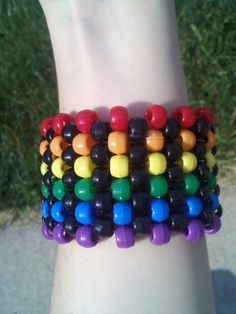 Rainbow Kandi Cuff PLUR Rave Bracelet by GotKandi on Etsy, $4.50