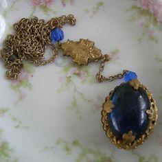 Vintage Extra Long Blue Czech Glass Lavalier - Art Nouveau Necklace by Vintageartshome on Etsy https://www.etsy.com/listing/247807590/vintage-extra-long-blue-czech-glass
