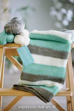 A beautifully simple, colour block baby blanket