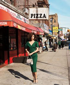 love green and pizza!  #zappos  FLIRTY FIFTIES  Miranda Kerr takes a bite out of Brooklyn in unforgettable daywear. Photographed by Terry Richardson. Fashion Editor: Brana Wolf. via Harpers Bazaar