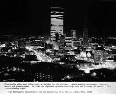 Night view of Downtown Minneapolis, 1975.