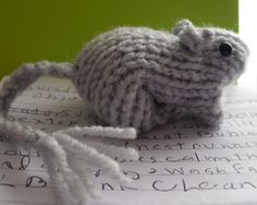 Free Knitting Pattern for Gerbil Toy - This easy toy gerbil is made by knitting one piece and folding it into an animal shape. Designed by Diane Nott