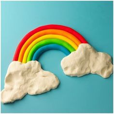 idea for making salt dough rainbow with kiddies. salt dough: 1 c. salt, 2 c. all purpose flour, 1 c. Play Doh Art, Play Doh Toys, Salt Dough Projects, Salt Dough Crafts, Fun Arts And Crafts, Crafts To Make, Crafts For Kids, Rainbow Art, Rainbow Colors