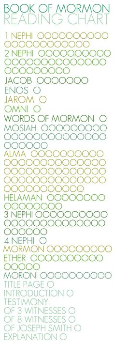 Book of Mormon reading chart printable.
