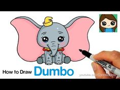 How to Draw Dumbo Easy and Cute Cute Disney Drawings, Disney Princess Drawings, Kawaii Drawings, Cool Drawings, Pencil Drawings, Dumbo Drawing, Baby Drawing, Easy Animal Drawings, Easy Drawings For Kids