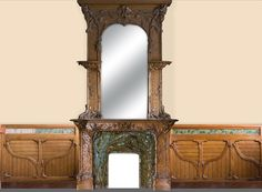 Exceptional antique Art Nouveau paneled room with its fireplace, made out of carved walnut, burr, pinewood and ceramic decor (Reference - Available at Galerie Marc Maison Decoration, Art Decor, Home Decor, Art Nouveau, Architectural Antiques, Ceramic Decor, Stained Glass Windows, Antique Art, Wood Paneling