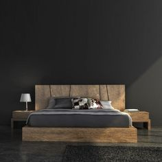 wooden bed with attached end tables