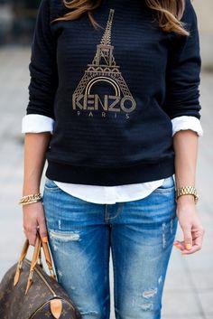 Kenzo navy blue Eiffel tower print jersey over white shirt + jeans and Louis Vuitton handbag