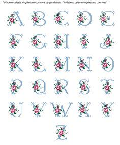 alfabeto celeste virgolettato con rosa