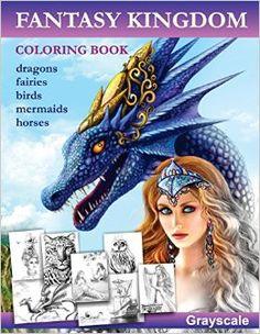 Fantasy Kingdom. Grayscale Adult coloring book: Alena Lazareva: 9781535185950: Amazon.com: Books