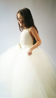 Ankle Length Ivory  Tutu Dress. Halter Dress with Lace Stretch Crochet Bodice