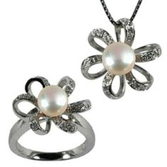 "Morning Bloom White Cultured Pearl Cubic Zirconia Platinum Overlay Sterling Silver Pendant Necklace 16"" & Ring Set Size 5 Dahlia. $106.45. Save 52%!"