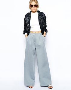 Wide Leg Pants in Premium Bonded Scuba ($91) http://www.mtv.com/news/1987377/wide-leg-pants/