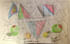 Triangles with olives. Original art drawing. Small. Abstract. Pencil. #Abstract