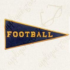 Football Pennant Flag Applique Embroidery Design