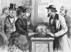 Victoria Claflin Woodhull (1838 - 1927) and her sister Tennessee Claflin (1844 - 1923) attempt to assert their right to vote in New York and are denied, circa 1875.