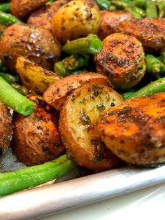 These easy roasted potatoes and green beans are the perfect side dish to any meal. Use one sheet pan to bake two side dishes that are so flavorful and delicious. Just add the seasoning to the potatoes and bake. Add the seasoning to the green beans while the potatoes are in the oven, by the time the beans are cleaned and seasoned, they can be added to the sheet pan. Bake a little longer and enjoy. Simple Weeknight Meal This really is a simple recipe that is perfect for any weeknight meal. If…