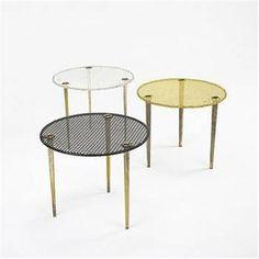 Mathieu Matégot, Enameled Metal and Brass Nesting Tables for Ateliers Matégot, c1950.