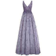 Monique Lhuillier Violet Embroidered Tulle V-Neck Ball Gown featuring polyvore, fashion, clothing, dresses, gowns, long dresses, vestidos, violet, beaded evening gowns, tulle gown, monique lhuillier gown and ombre dress