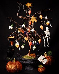 """""""Glitter lady"""" Laurie Davis joins Martha to craft glittered Halloween trees and ornaments."""