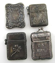 Antique Stamp Box Cases Dated 1892 US Mail Clover Sterling Silver