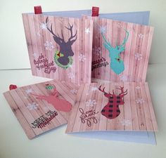 Christmas Cards,Winter Stag,Pack of Five,Handmade Xmas Cards £4.00