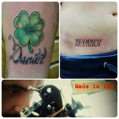 Tattoo Made In Ink Irie Grow Shop trébol fecha romana