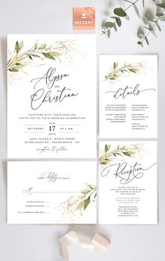Welcome to DIY Paper Boutique! This bohemian invitation features calligraphy-inspired fonts and hand painted faux gold and laurel using watercolors. Purchase, edit, and print within minutes. Beautiful Wedding Invitations, Printable Wedding Invitations, Wedding Invitation Design, Printable Invitations, Wedding Stationery, Rustic Wedding Invitations, Invitation Fonts, Wedding Details Card, Bohemian Invitation