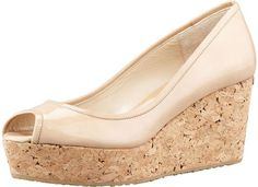 Jimmy Choo Purdey Patent Cork Wedge, Nude