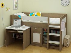 Childrens Beds - Midsleeper Bed With Desk And Storage - New Mid Sleeper Beds