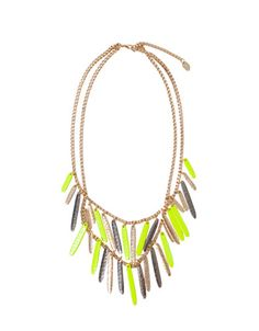 TRICOLOUR DOUBLE NECKLACE WITH A TOUCH OF LIME - Woman - New this week - ZARA $19.90 USD