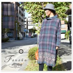 【Fanaka ファナカ】ウール コットン チェック 刺繍 付 オフタートル ワンピース (72-2552-101)