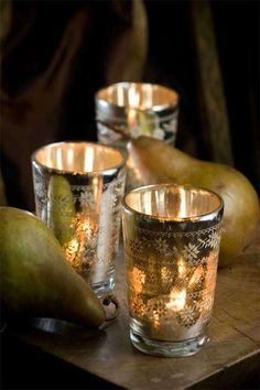 antique mercury votives...could take Moroccan tea glasses and put tea lights in them for same effect...