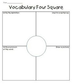 Vocabulary Four Squares activity for use with first grade and beyond!
