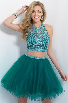 A-line/Princess Halter Satin Tulle Two Pieces Homecoming Dresses with Beading Rhinestones