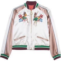 HILFIGER COLLECTION Bomber Island Life // Embroidered bomber jacket ($885) ❤ liked on Polyvore featuring outerwear, jackets, slim jacket, white jacket, letter jacket, flight bomber jacket and colorful jackets