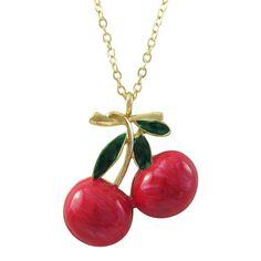 Luxiro Gold Finish Enamel Cherry Pendant Necklace