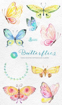 Butterflies Watercolor: 9 Separate hand painted clipart, diy elements…